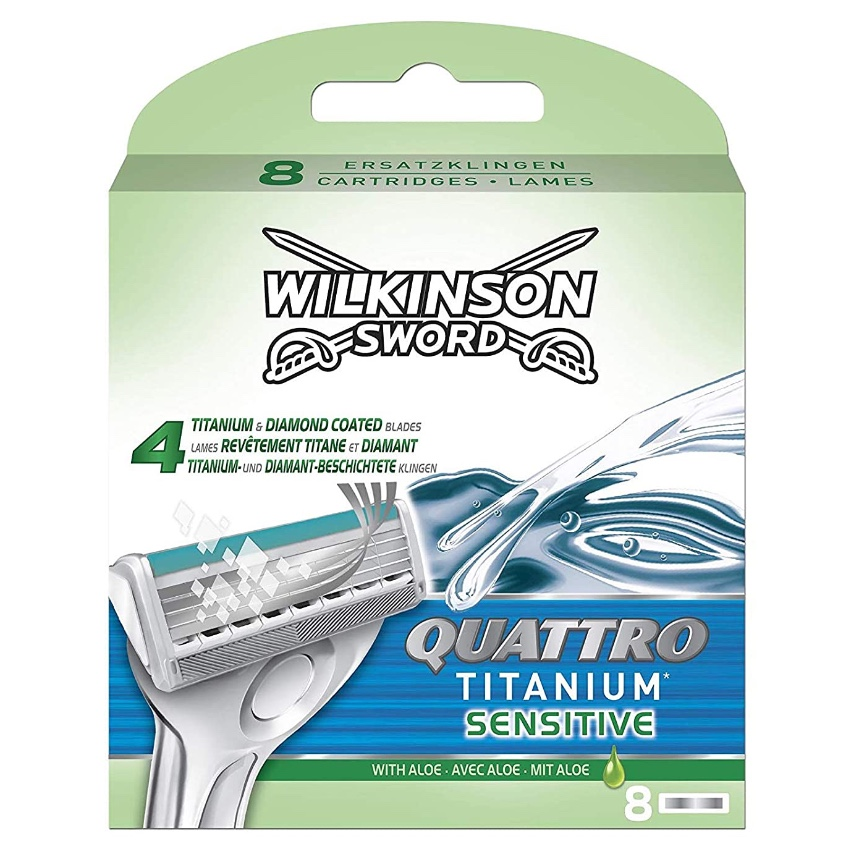 Сменные лезвия Wilkinson Sword Quattro Titanium Sensitive (8 картриджей)